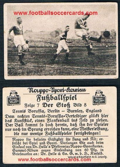 1920s Nappo Tobacco card from Germany of BURNLEY v Tennis Borussia Berlin